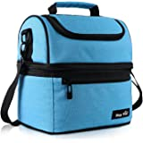 Hap Tim Lunch Box Insulated Lunch Bag Large Cooler Tote Bag for Adult,Men,Women,Kid, Double Deck Cooler for Office/School/Picnic(AU16040-BL)