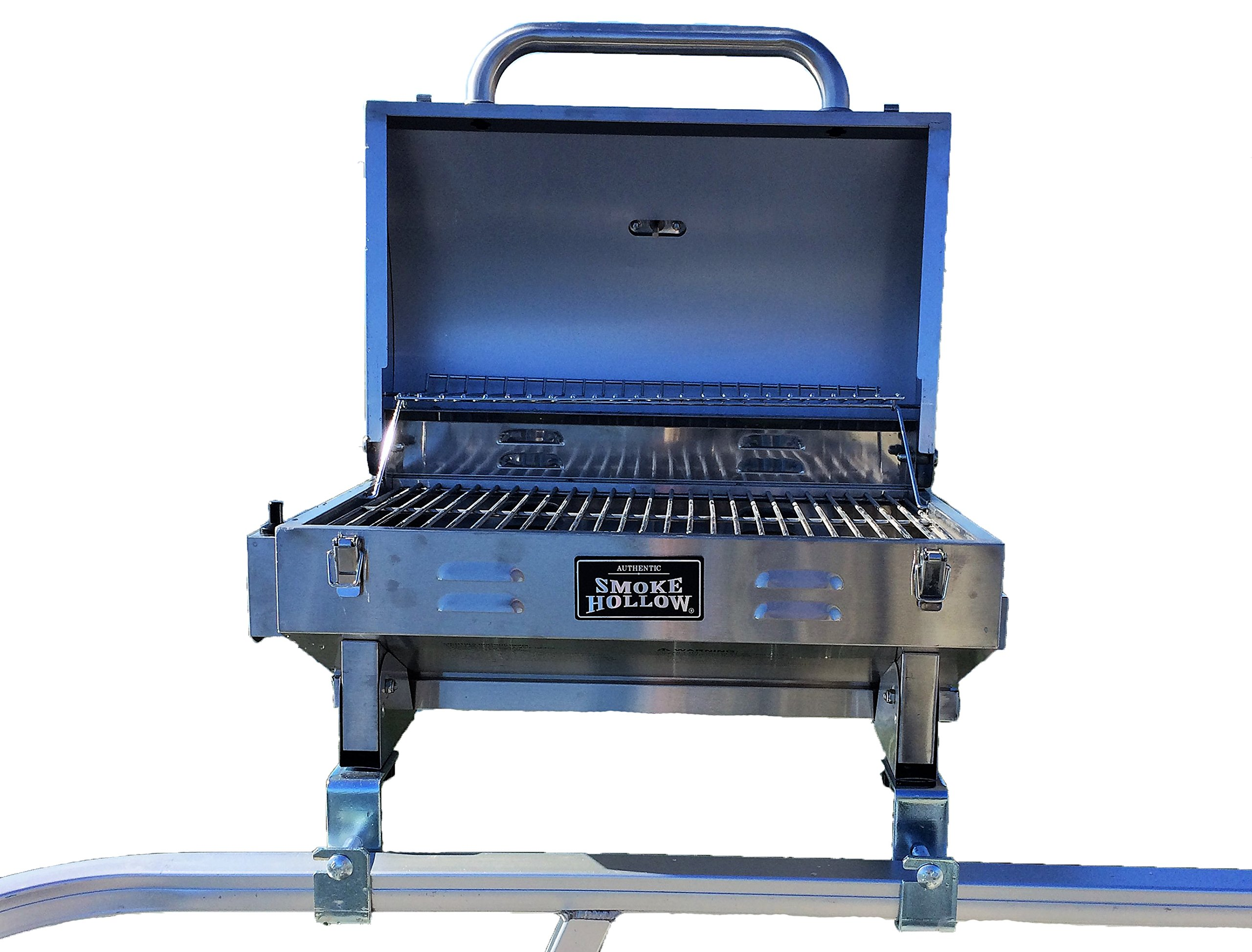 Smoke Hollow Grill Modified for 1.25'' Railing on Pontoon Boats w/Arnall's Stainless Grill Brackets. by Smoke Hollow
