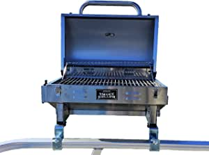 """Smoke Hollow Grill Modified for 1.25"""" Railing on Pontoon Boats w/Arnall's Stainless Grill Brackets."""