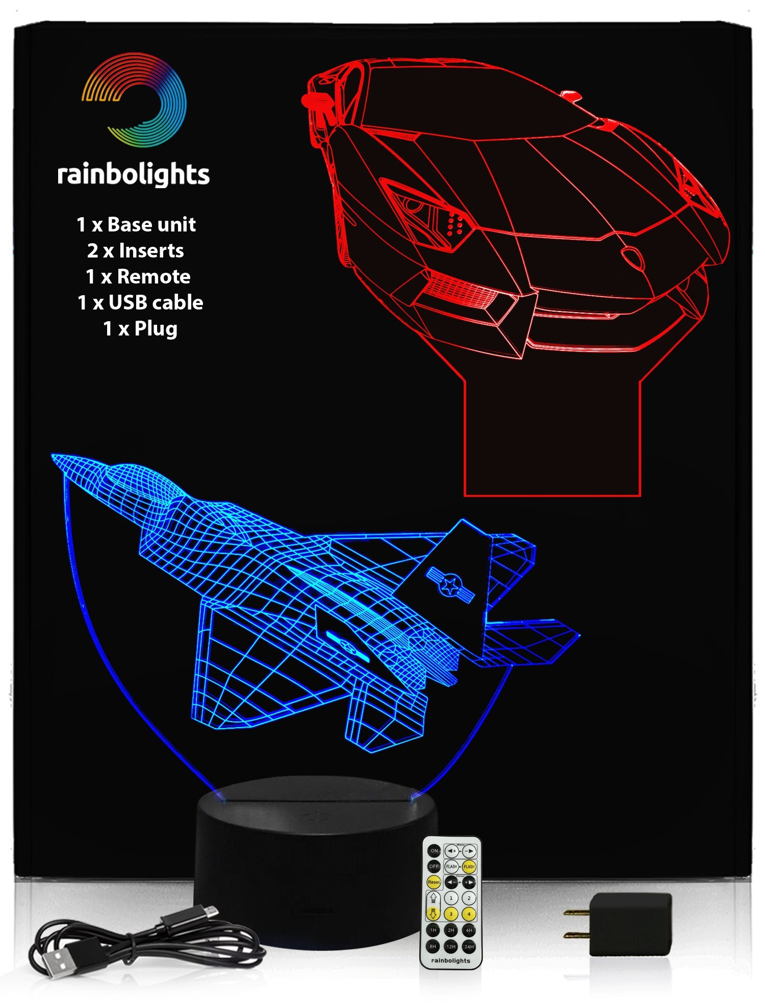BIRTHDAYS GIFTS FOR BOYS 3D Illusion Night Light Desk Lamp 7 color (2 Designs PLANE & CAR) with REMOTE CONTROL inc Dimmer With Mains Plug A LAMPS FOR THE BEDROOM ILLUSION NIGHTLIGHT by rainbolights