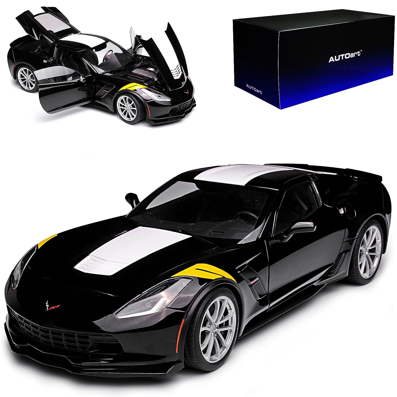 AUTOart Chevrolet Corvette C7 Grand Sport Coupe Schwarz mit Weiss Gelb Modell Ab 2013 Version 2017 71273 1/18 Modell Auto mit individiuellem Wunschkennzeichen