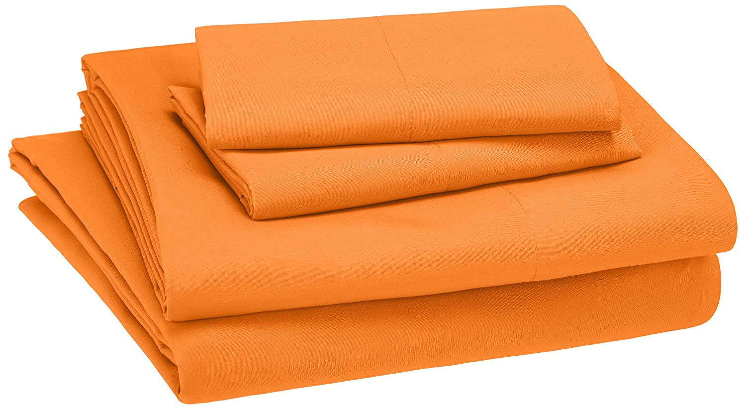 AmazonBasics Easy-Wash Microfiber Kid's Bedding Sheet Set - Queen, Bright Orange