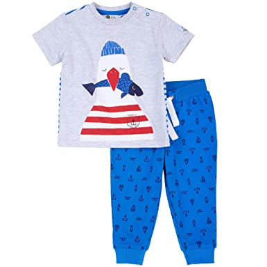 c89510b1558f Petit Lem Baby Toddler Boys Fisherman Seagull Summer Pant Set (3 Months)