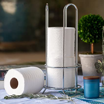 HUJI Chrome Finish Modern Design Toilet Paper Roll Bathroom Holder Rack Storage  Canister Space Saver (