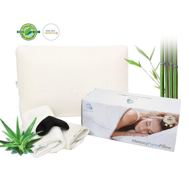Almohada ortopédica HWS - Almohada cervical (Incluye 2 Incluye protector Fundas Aloe Vera + fibra de bambú + Dormir máscara & S de portatil almohada de ...