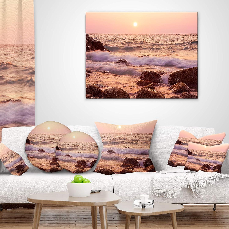 Sofa Throw Pillow 12 x 20 Designart CU10389-12-20 Foam Waves Hitting Rocky Coast Seashore Lumbar Cushion Cover for Living Room