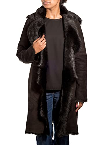 Gamuza Negro Negro de las mujeres con piel de oveja Real. Abrigo de piel de 3/4 a largo Cascada del invierno