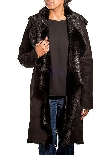 A to Z Leather - Abrigo - Básico - Cuello ala - Manga Larga - para mujer