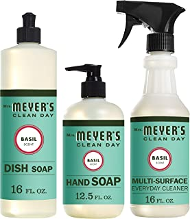 product image for Mrs. Meyer's Clean Day Kitchen Basics Set, Includes: Multi-Surface Cleaner, Hand Soap, Dish Soap, Basil Scent, 3 Count Pack