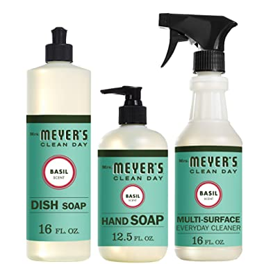Mrs. Meyers Clean Day Kitchen Basics Set, Basil, Includes: Dish Soap (16 fl oz), Hand Soap (12.5 fl oz), Multi-Surface Everyday Cleaner (16 fl oz)