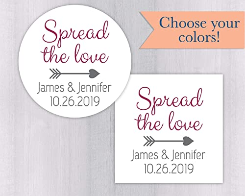 20 Glossy 2 Round Sticker Label Tags Spread the Love Custom Wedding Favor /& Gift Tags
