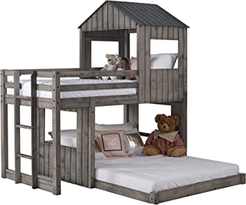 Amazon Com Donco Twin Over Full Campsite Loft Bunkbed Rustic Dirty Grey Furniture Decor