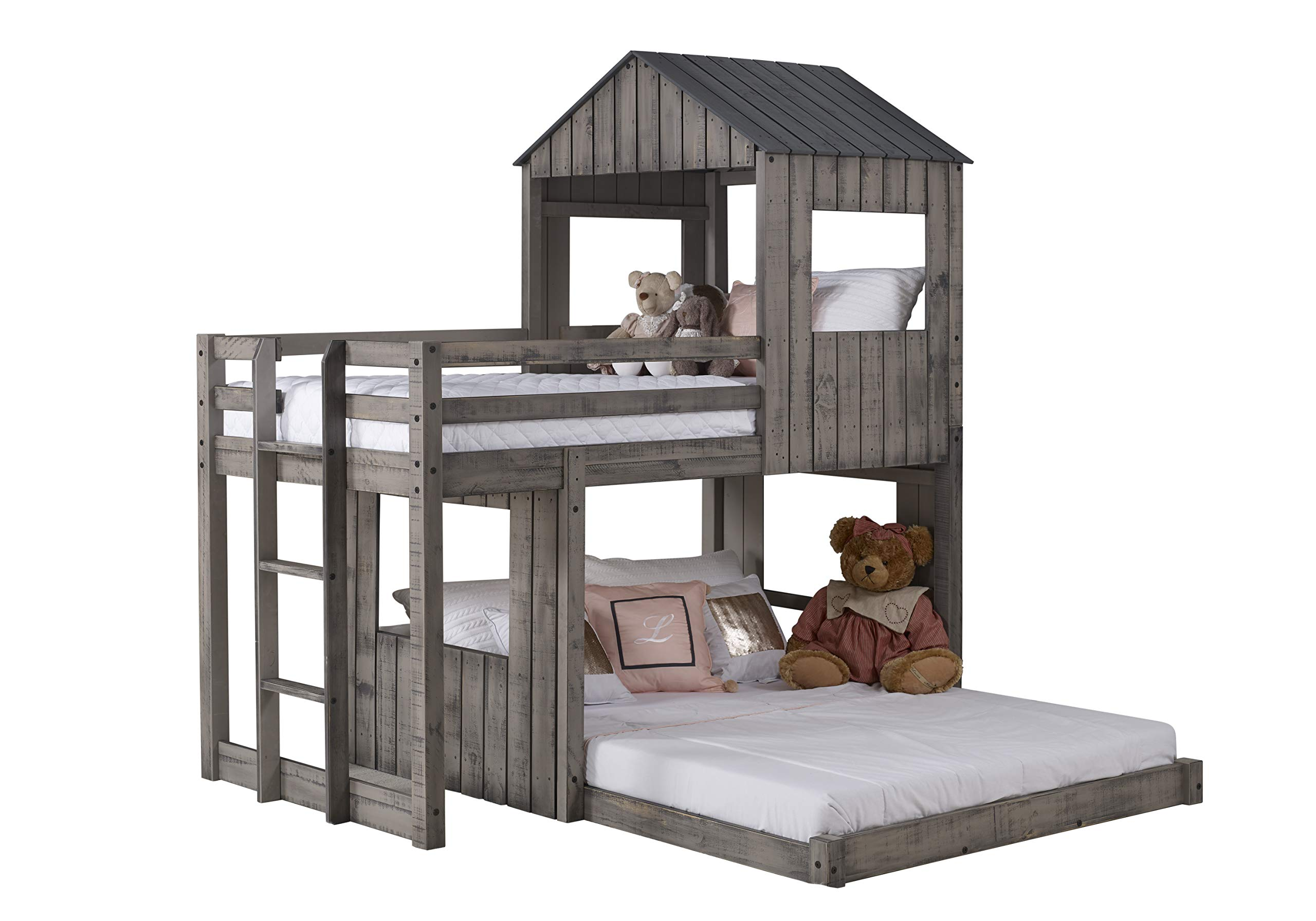 DONCO 3344-TFRDG Twin Over Full Campsite Loft BUNKBED Rustic Dirty Grey by DONCO