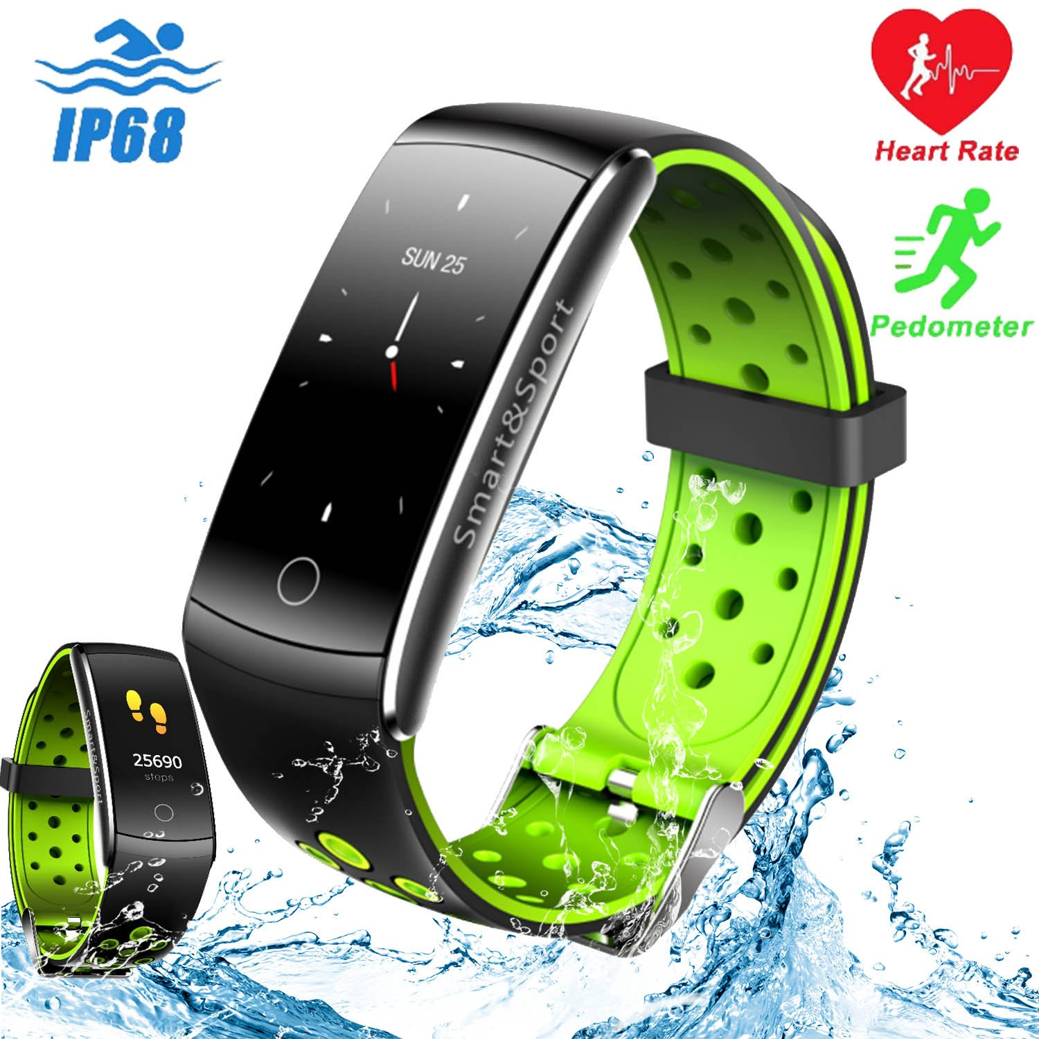 Qiwoo IP68 Waterproof Sports Smart Watch, Fitness Tracker for Women Men with Heart Rate Blood Pressure Oxygen Sleep Monitor Pedometer Calorie Electronic Wearable Travel Office for Android iOS, Orange