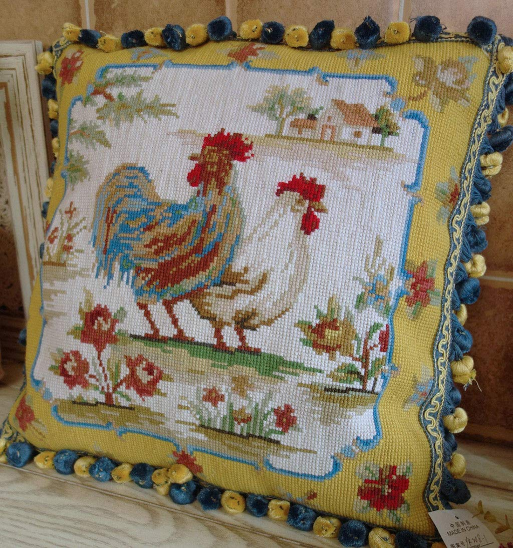 Fine Home Crafts 16 Beautiful Colorful Country Life Hand Crafted Rooster Hen Needlepoint Pillow