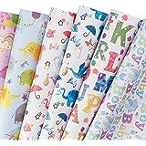 RUSPEPA Hojas de papel de regalo - Papel de regalo de ducha de bebé rosa y azul - 6 Diseño para bebé recién nacido - 6 Doblada hojas - X70CM de 50 CM