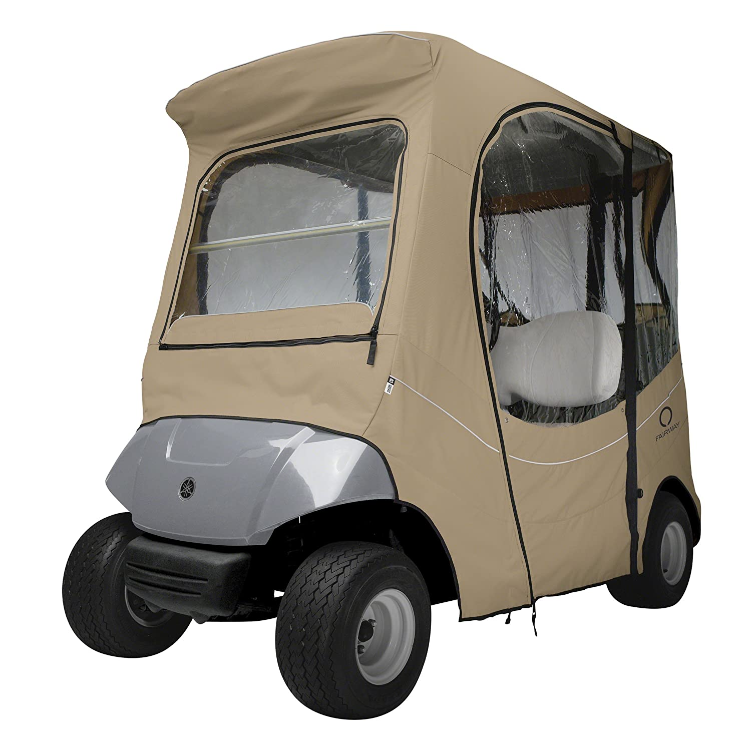 yamaha golf carts. amazon.com : classic accessories fairway golf cart fadesafe enclosure for yamaha, short roof, khaki sports \u0026 outdoors yamaha carts