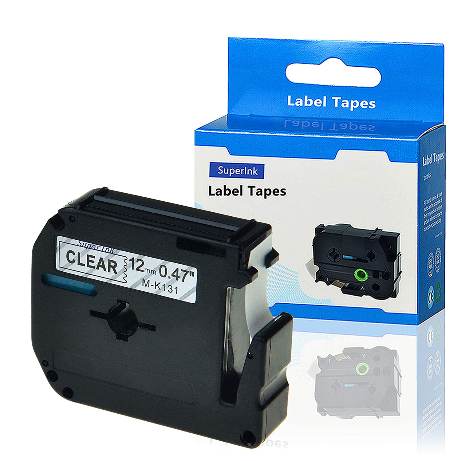 SuperInk 1 Pack Black on Clear Label Tape Compatible for Brother MK131  M-K131 M131 PT-100 PT-45 PT-55 PT-65 PT-70 PT-80 PT-85 PT-90 Thermal  P-Touch