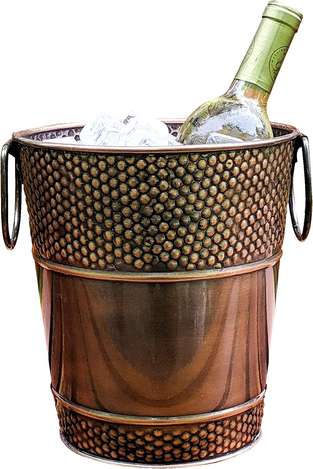 BREKX Berkshire Copper Finish Galvanized Wine Bucket, Rust-Resistant and Leak-Proof Ice and Drink Holder with Handles, 5 Quarts