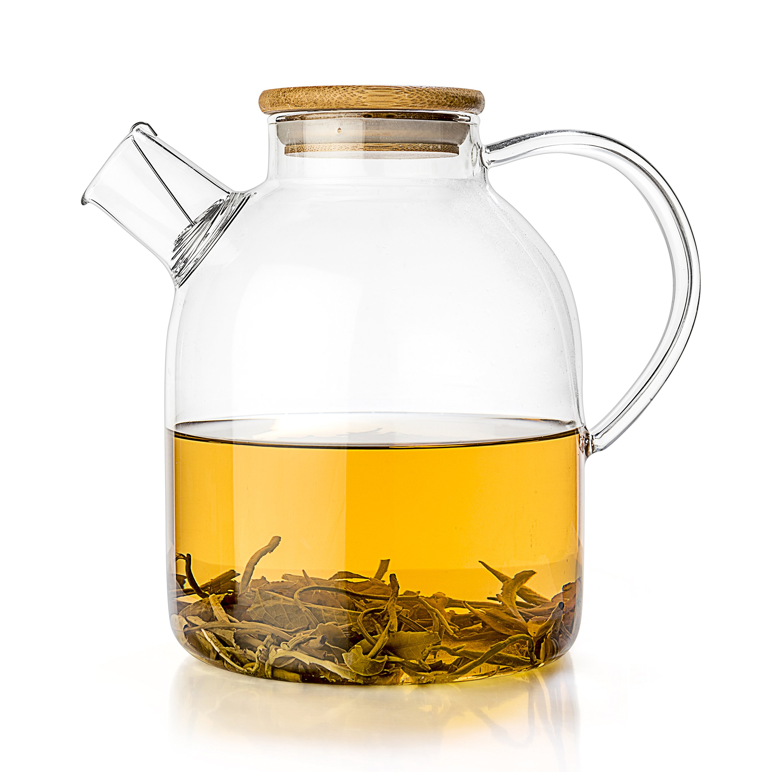 Tealyra - Glass Stove-top Kettle 60-Ounce - Teapot - Heat Resistant Borosilicate - Pitcher - Carafe - No-Dripping - for Tea Juice Water - Hot or Iced - 1800ml by Tealyra