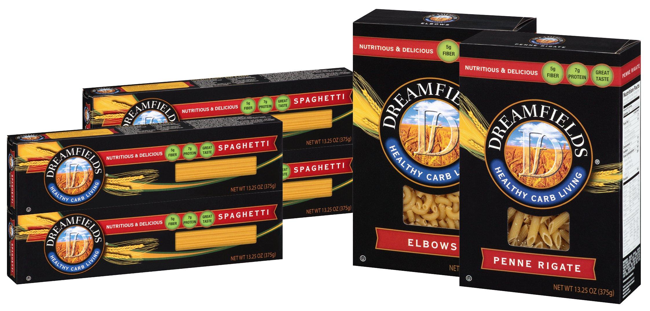 Dreamfields Pasta Healthy Carb Living Variety Six Pack (4 - 13.5 Oz Boxes Spaghetti, 1-13.25 Oz. Box Elbows, 1-13.25 Oz. Box Penne Rigate)