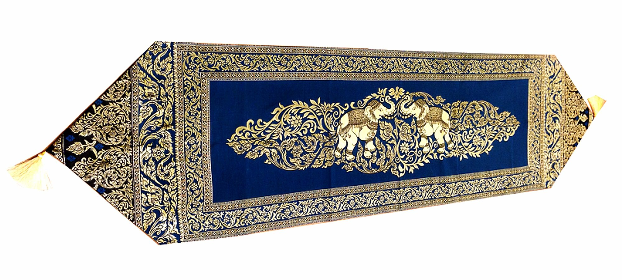 HOME DECORATIVE THAI SILK TABLE/BED RUNNER (PERSIAN BLUE ELEPHANT)