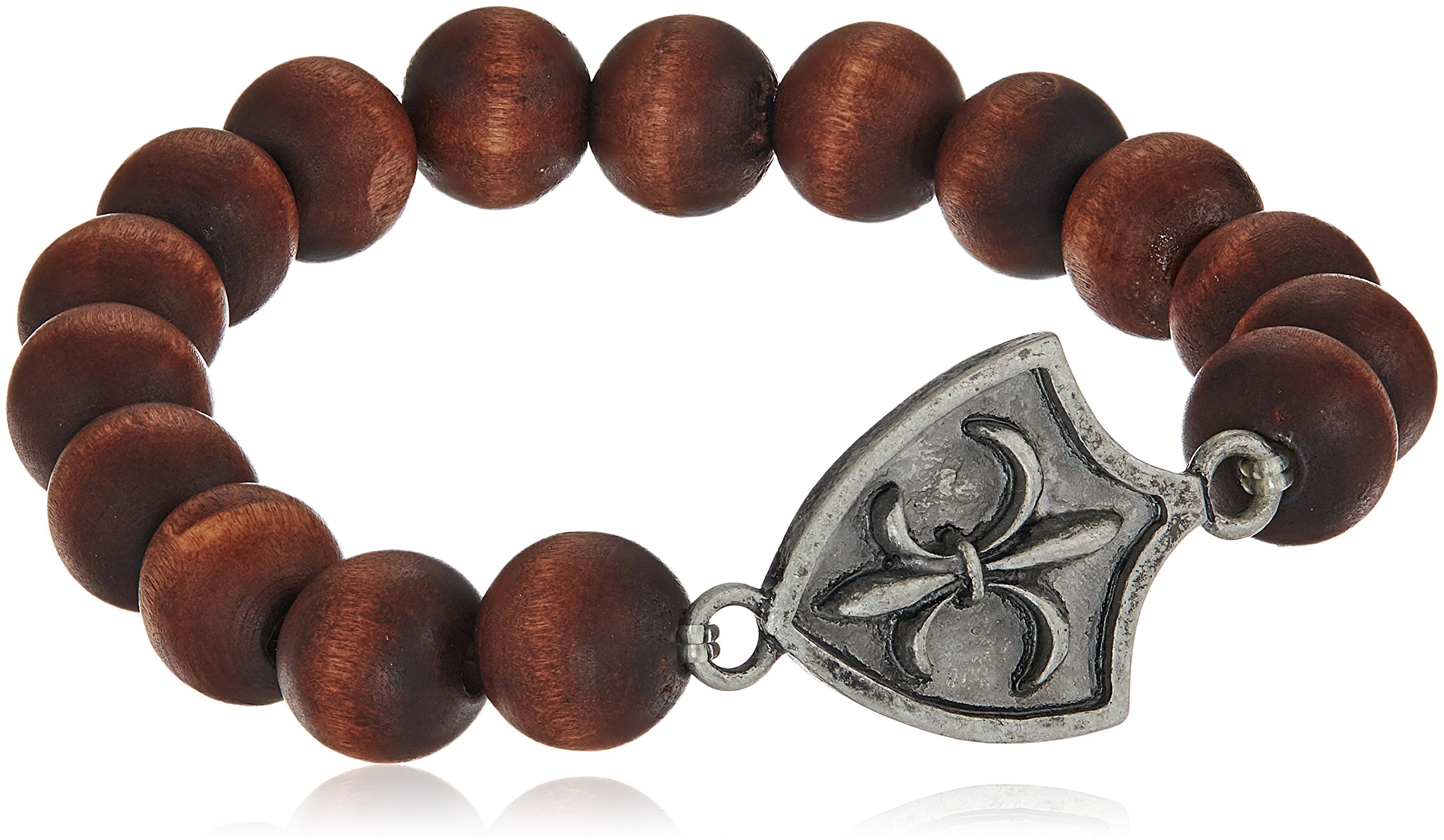 Ettika Fleur De Lys Coat of Arms Elastic Brown Wood Bead Bracelet
