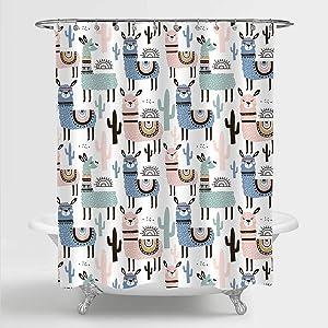 "MitoVilla Llama Cactus Shower Curtain for Kids Bathroom Decor, Colorful Cartoon Animal and Tropical Botanical Pattern Bathroom Accessories, Llama Gfits for Women, Kids Girls and Boys, 72"" W x 78"" L"