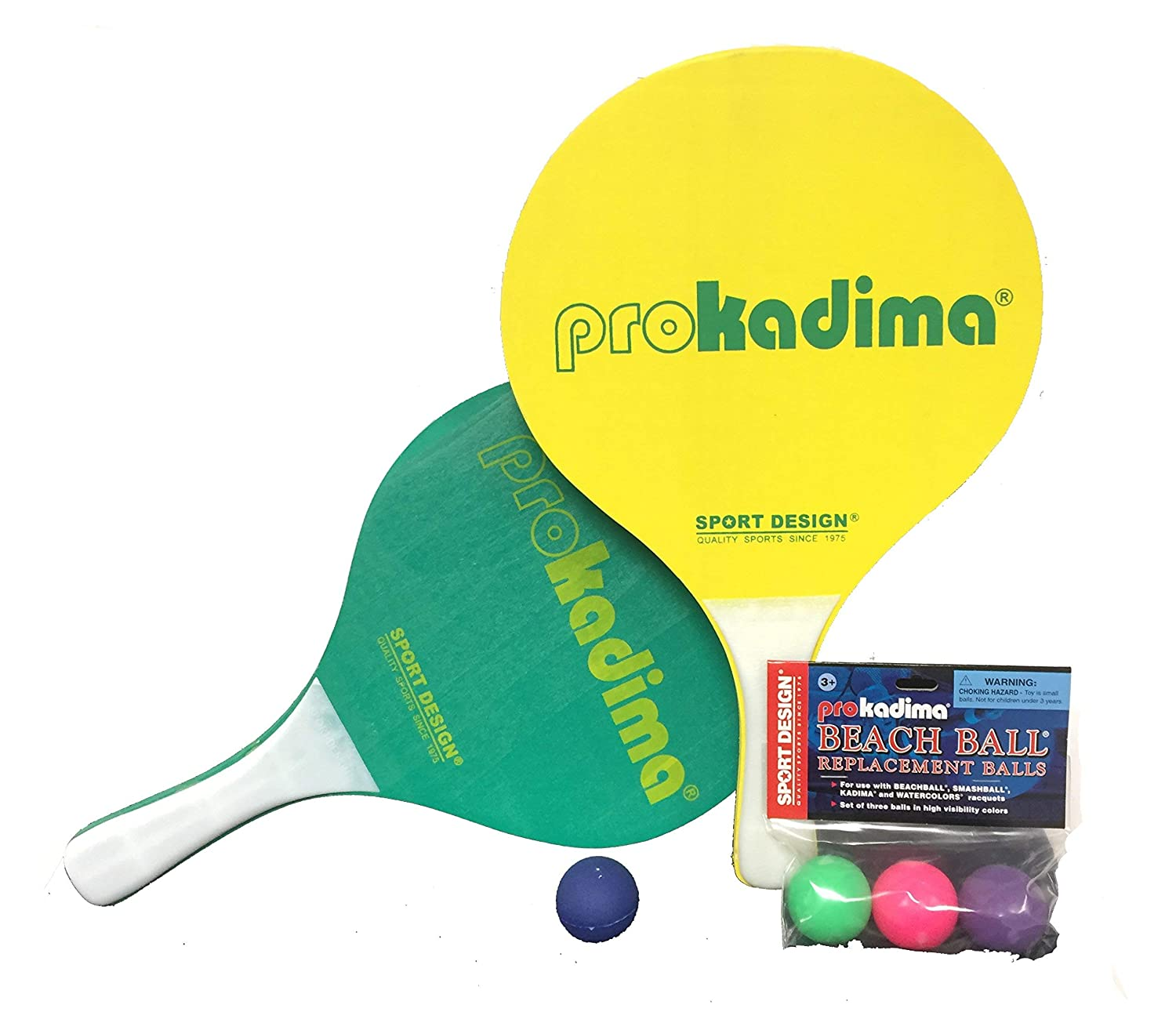 Pro Kadima Paddle Raquet Ball Set-Solid Colors-Bundle Pack 4 Balls Included Yellow//Green