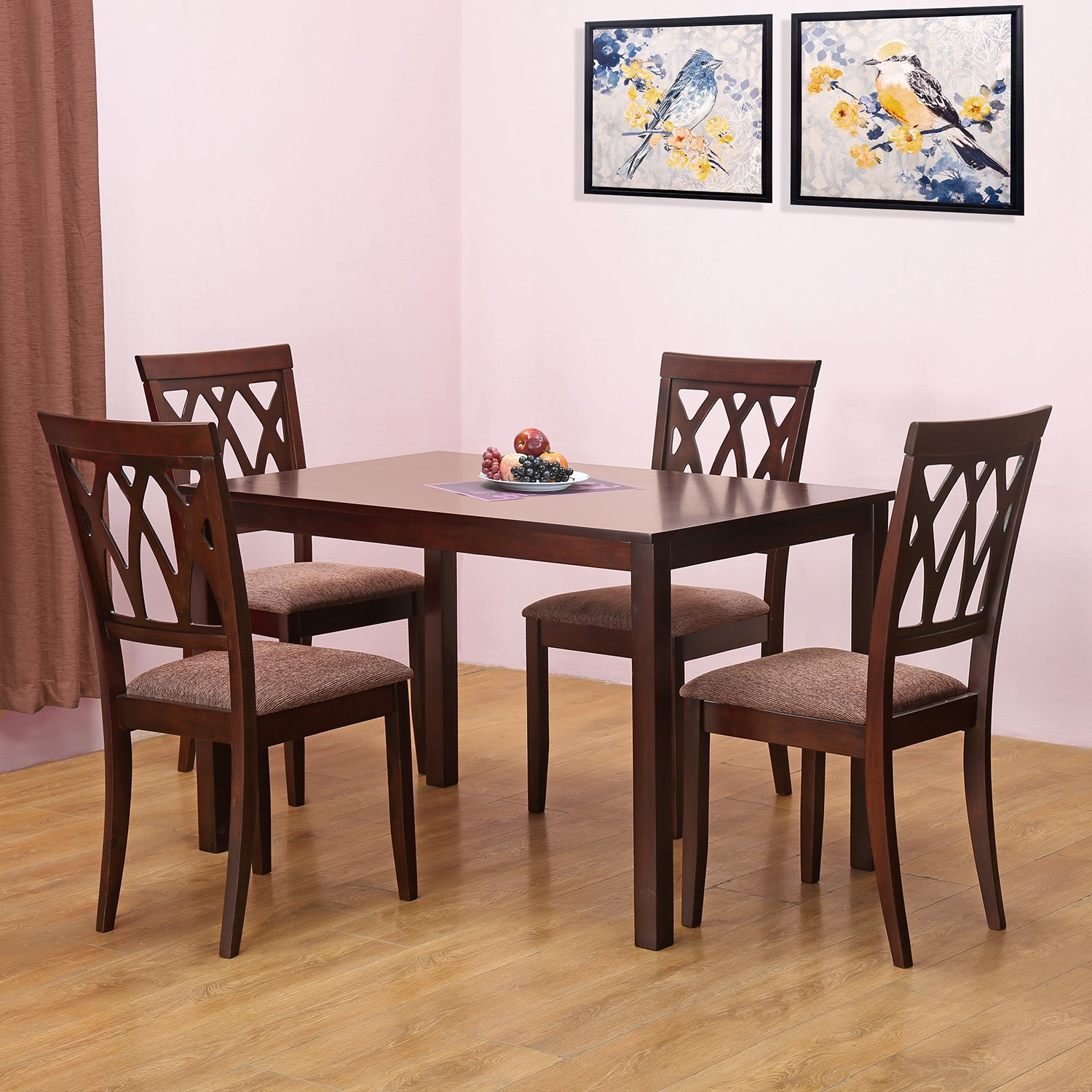 Home By Nilkamal Peak Four Seater Dining Table Set Cappucino Amazonin Kitchen