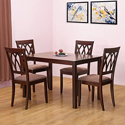 Home By Nilkamal Peak Four Seater Dining Table Set Cappucino