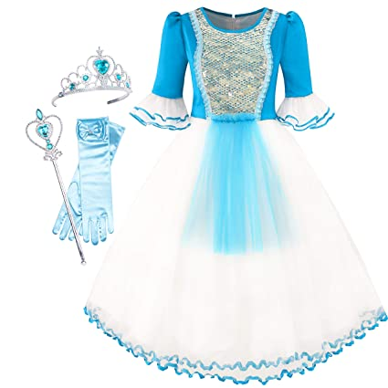 Sunny Fashion Vestido para niña Sirena Arriba Accesorios ...