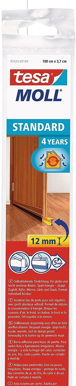 Tesa 05433-00101-00, Barra para Puerta de PVC Cepillo para Suelos Lisos, 1 m x 37 mm, Marrón
