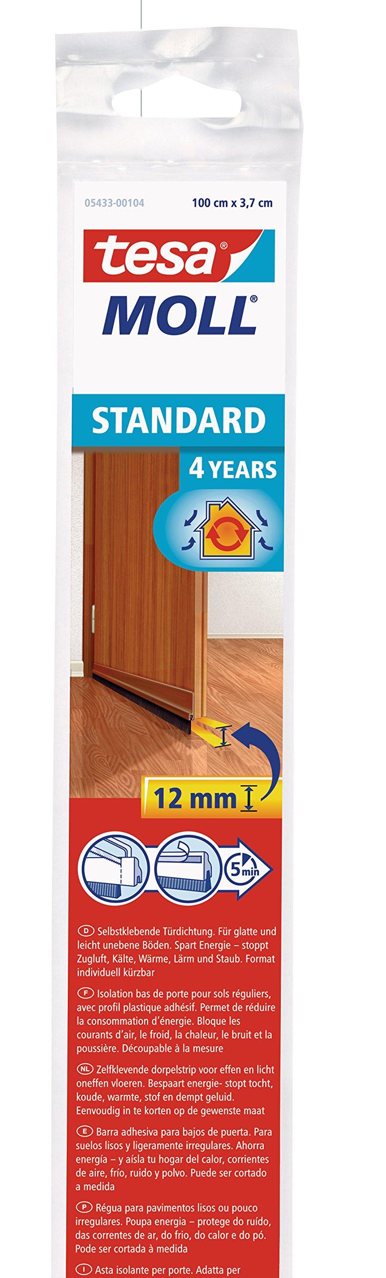 tesa UK Draught Excluder Door Brush for Standard Surfaces - Brown