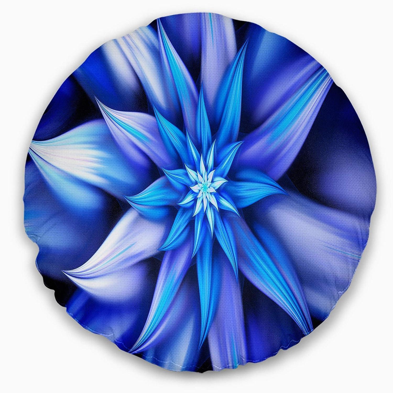 Designart CU15572-20-20-C Dancing Blue Flower Petals' Floral Round Cushion Cover for Living Room, Sofa Throw Pillow 20'