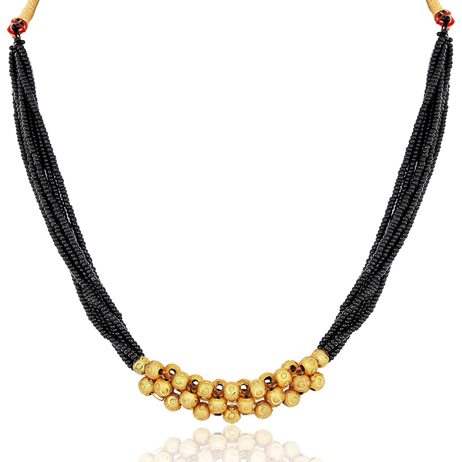 Amaal Mangal Sutra Traditional Jewellery Gold Plated Maharashtrianthushi Mangalsutra Pendant Necklace For Women Girls Jewelry Set Thushi A117
