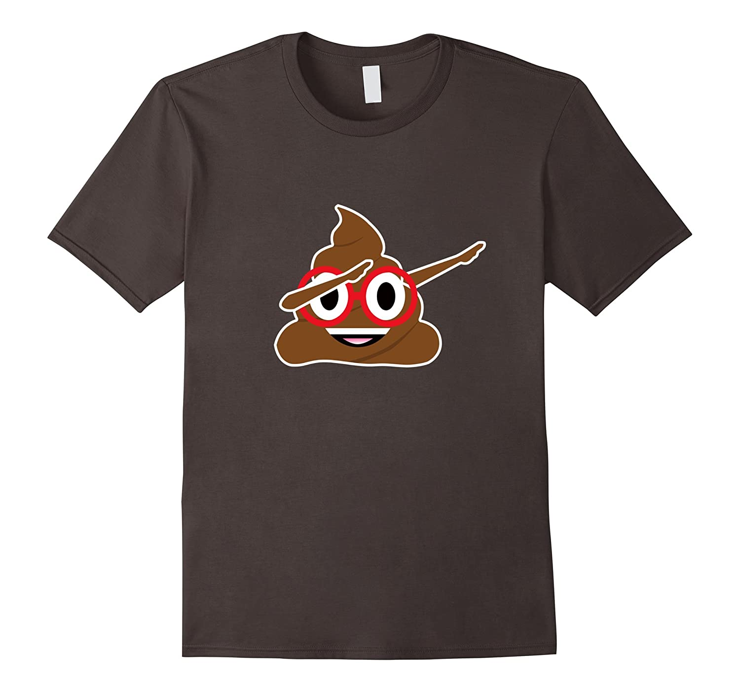 Funny Dabbing Poop Emoji T-Shirt With Red Glasses