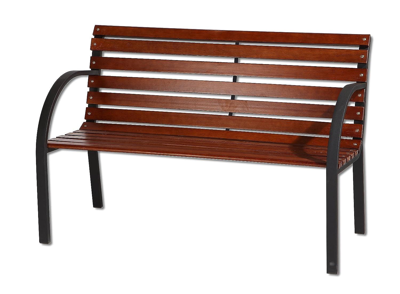 3 Seater Garden Patio Bench Oakwood Slats Metal Legs 122cm Bespoke garden