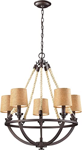 Elk 63015-5 Natural Rope 5-Light Chandelier, Aged Bronze