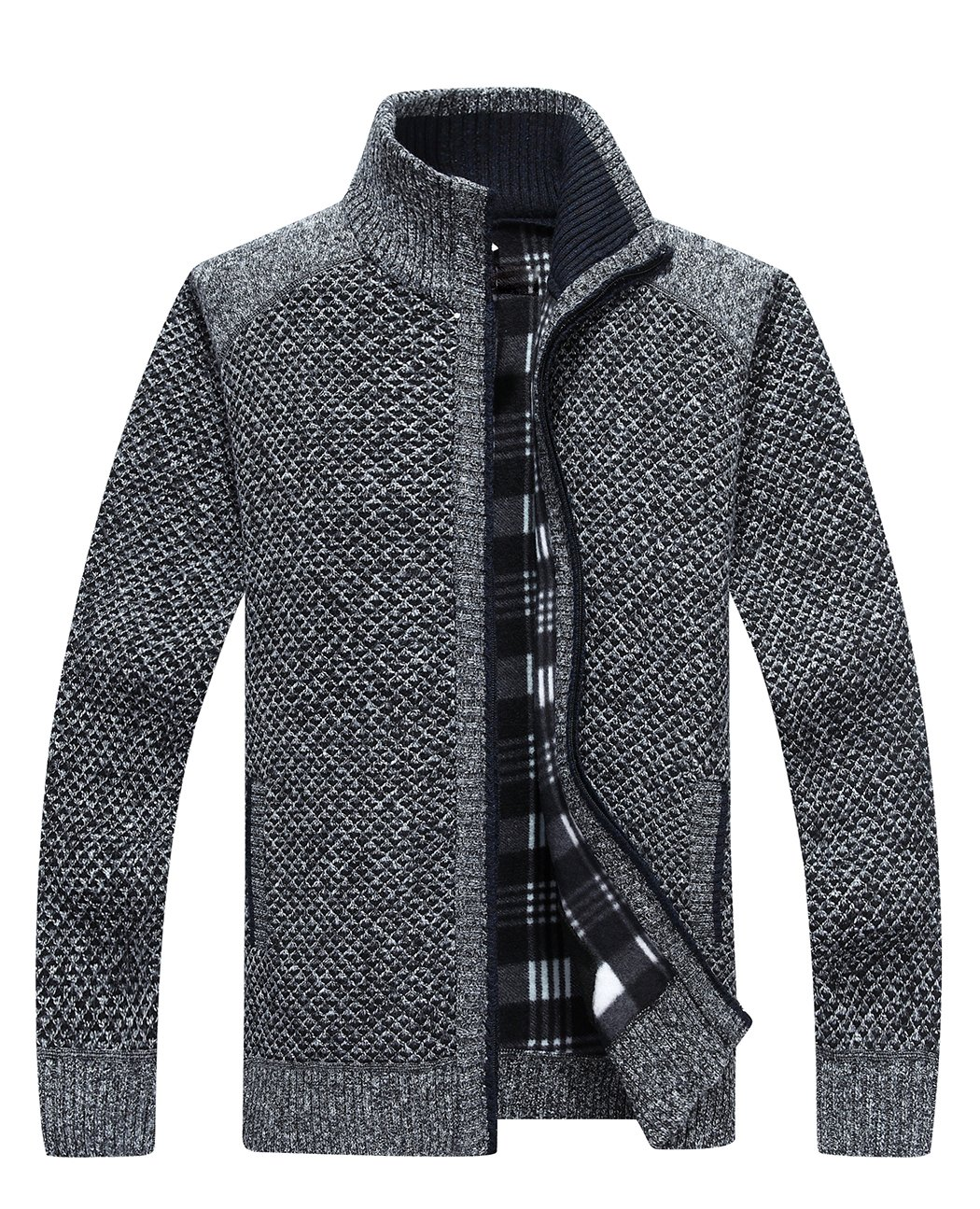 Vcansion Mens Casual Zip Knitted Cardigan Sweater Business Sweater Dark Grey US L/Asian 2XL