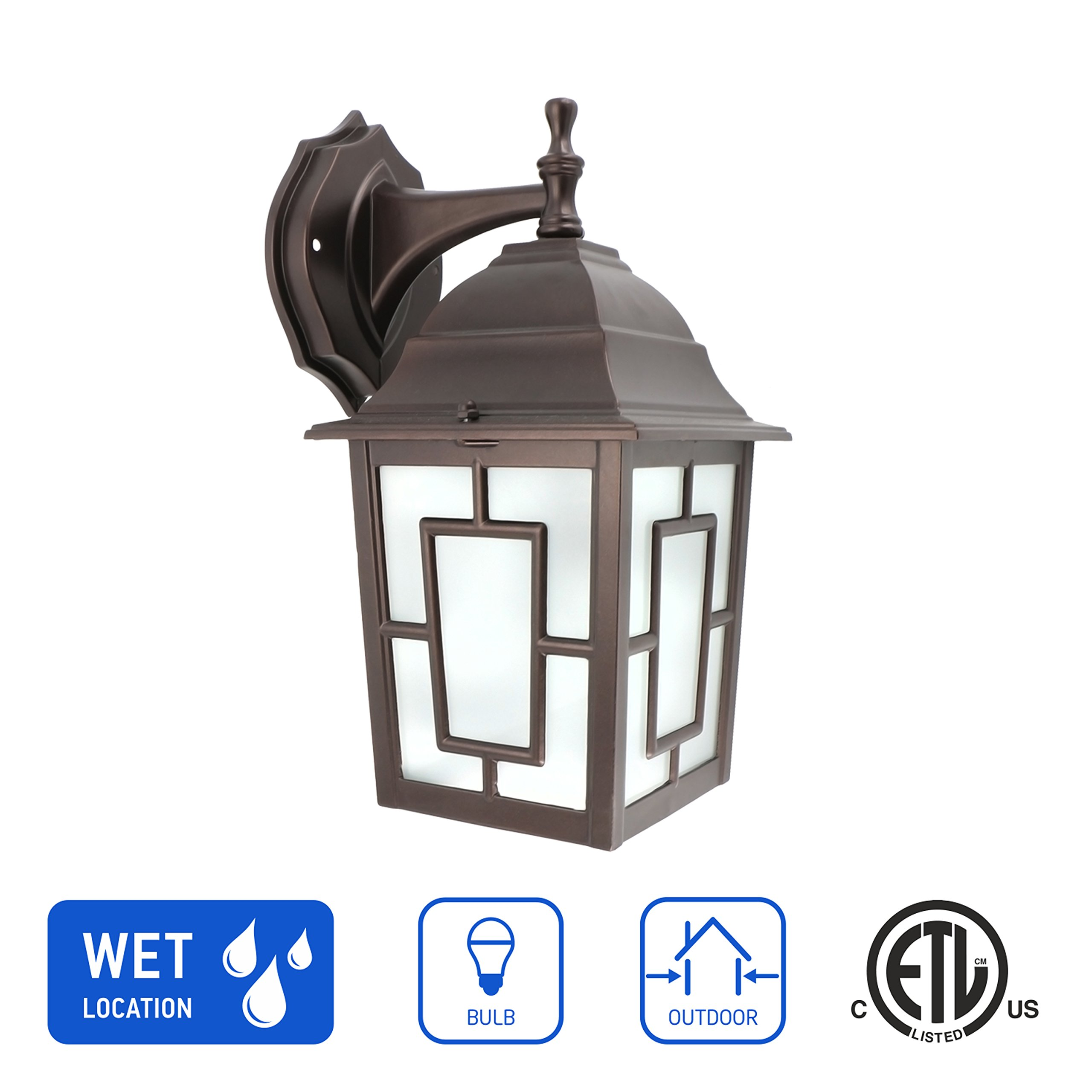 in Home 1-Light Outdoor Wall Mount Lantern Downward Fixture L05 Series Traditional Design Bronze Finish, Frosted Glass Shade, ETL Listed