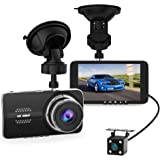 "4.0"" Car Dash Cam, Full HD 1080P Dash Camera, Front + VGA Rear 290 Degree Super Wide Angle Dashboard Camera with G-Sensor, Loop Recording, Parking Monitoring, Motion Detection etc"