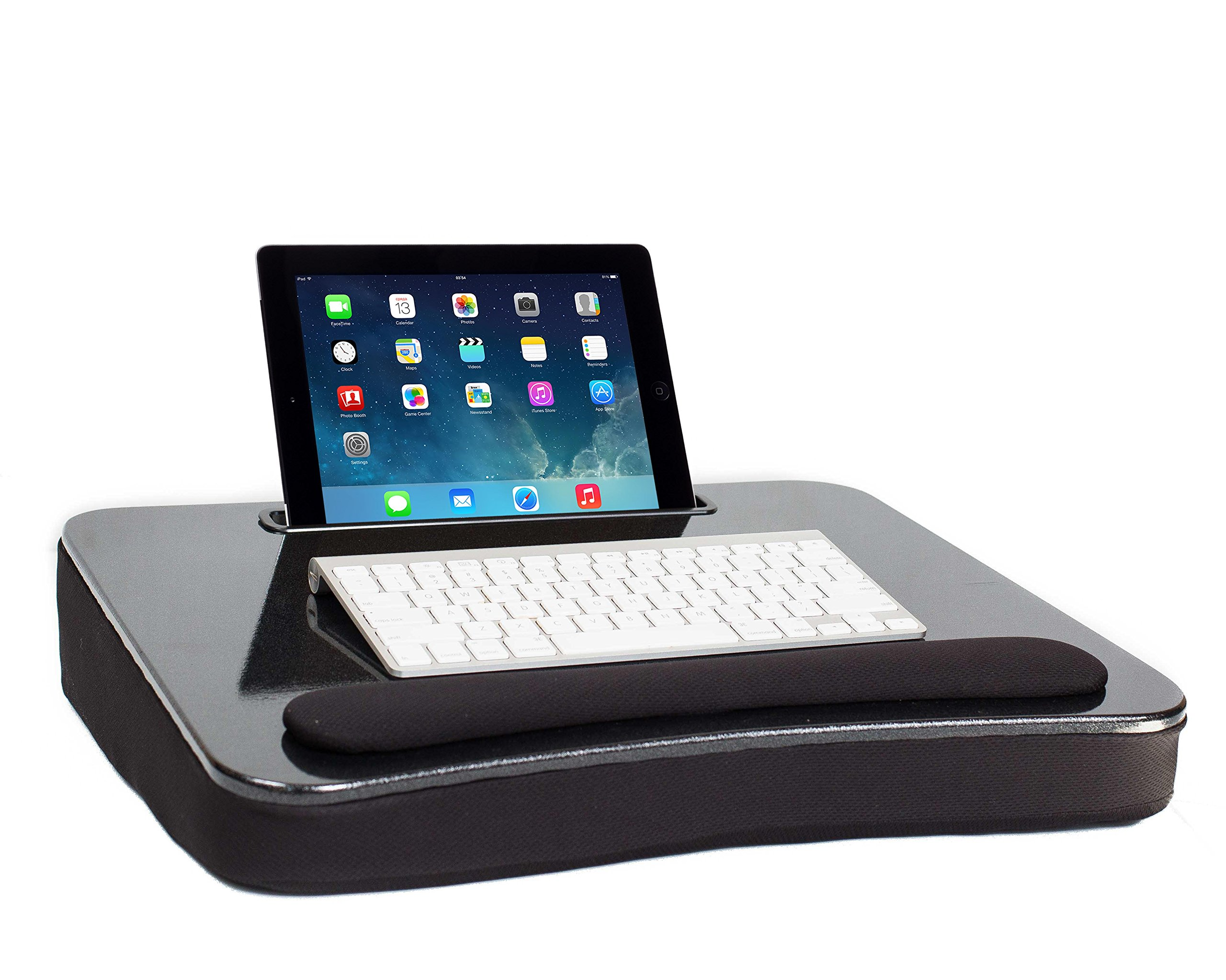 Sofia + Sam All Purpose Lap Desk (Black Sparkle Top) with Tablet Slot | Supports Laptops Up To 17 Inches