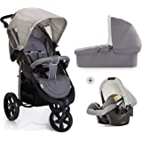 Hauck Viper SLX Trio Set Travel System, from Birth to 15 Kg, Grey (Car Seat, Carry Cot and Raincover)