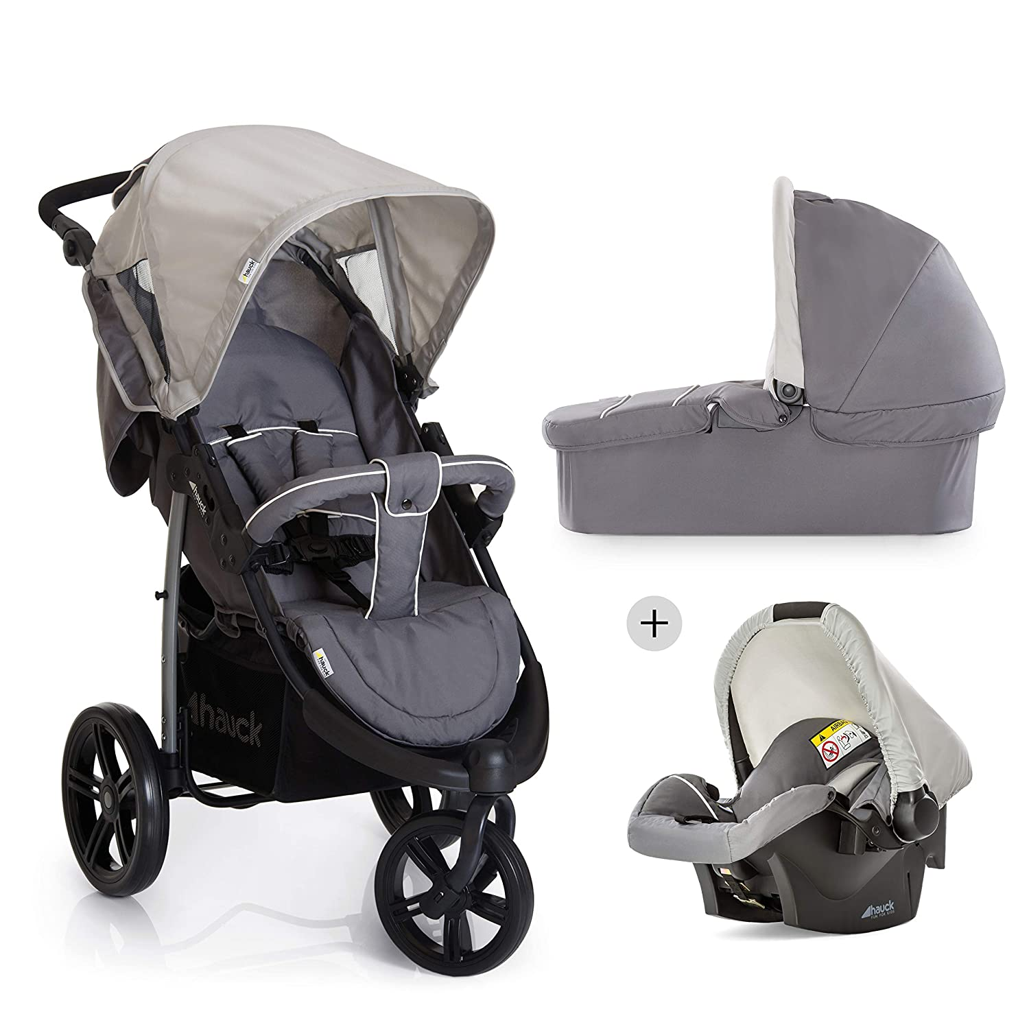 Hauck Disney Baby Viper Trio Set Travel System, from Birth to 15kg, Pooh Tidy Time (Car Seat, Carry Cot, 3 Wheel and Raincover) H-31217