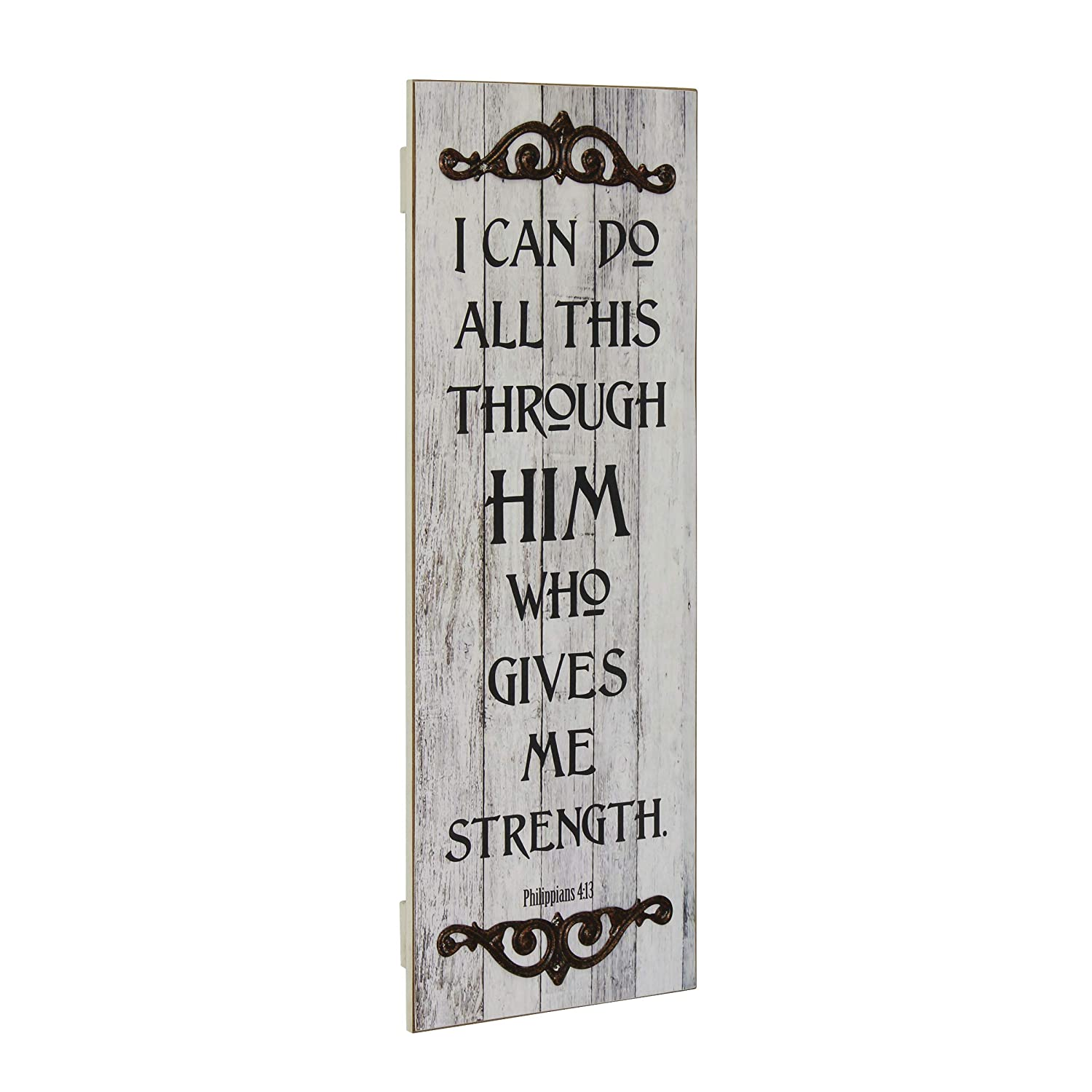 Stonebriar Philippians 4:13 Rustic Decorative Worn White Painted Wall Art with Metal Trim