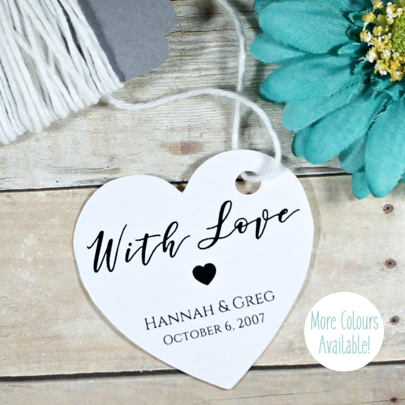 Personalized White Wedding Favor Tags - Custom Heart Shaped Tags With Love (Set of 20)