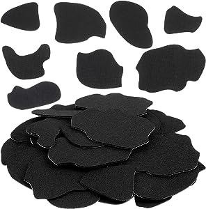 Tatuo 56 Pieces Black Adhesive Felt Circles Felt Stickers Cow Style Felt Pad for DIY Halloween Item Costume Use