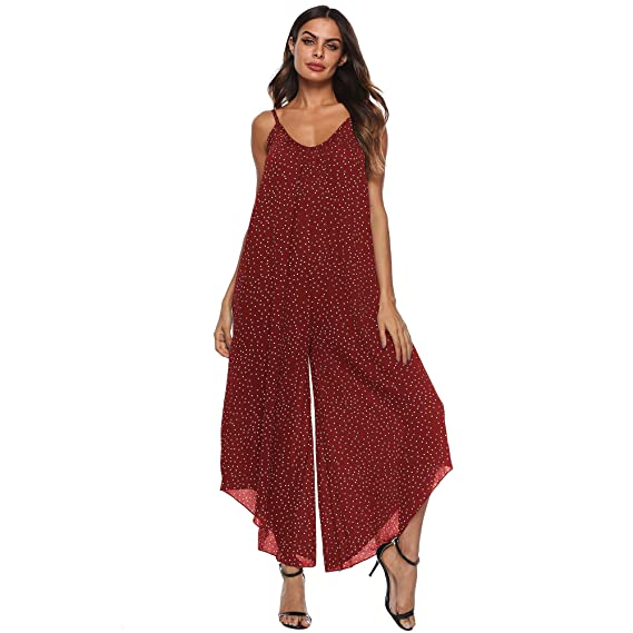 a3ff18e3aee36 Vertvie Femme Combinaison Pantalon Jambe Large à Bretelles Imprimé Points  Jumpsuit Rompers sans Manches Col V