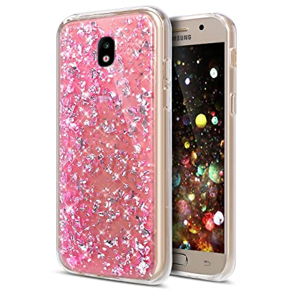 Galaxy J5 Pro Case,ikasus Ultra Thin Clear Crystal Bling Shiny Giltter Rhinestone Clear Rubber Frame Transparent TPU Soft Silicone Bumper Case Cover ...